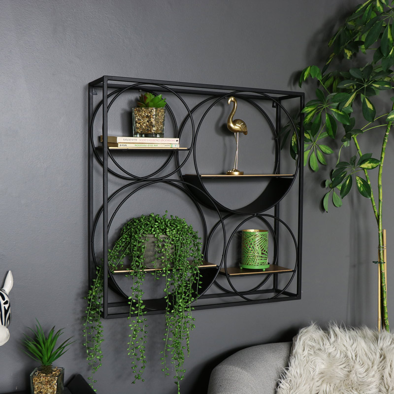 Large Black and Copper Wall Shelf Unit