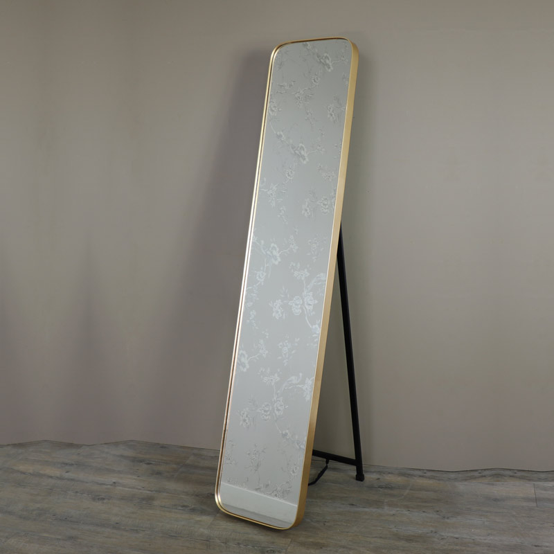 Tall Gold Framed Full Length Freestanding Cheval Mirror