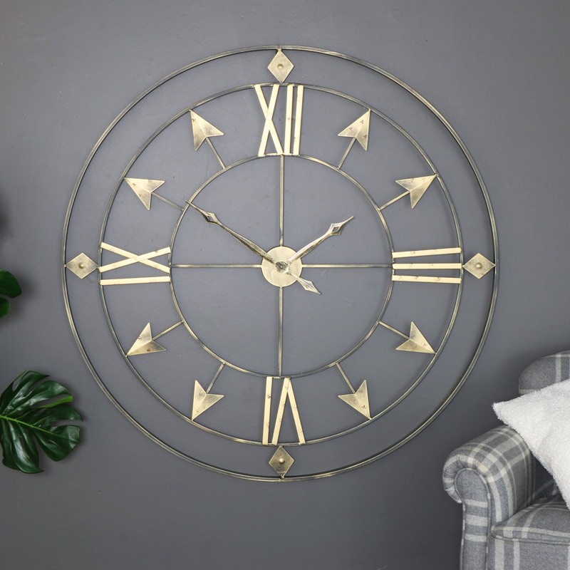 Extra Large Rustic Grey & Gold Skeleton Wall Clock