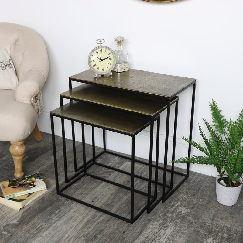 Gold and Black Nest Of Three Tables