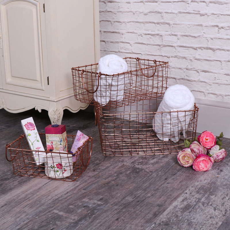 Set of 3 Copper Metal Storage Baskets