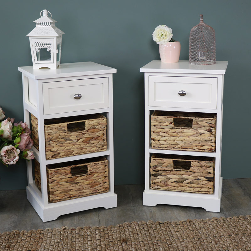 Buy Wicker Storage Basket Kitchen Drawer Style From The: Pair Of Cream Wood & Wicker 3 Drawer Basket Storage Units