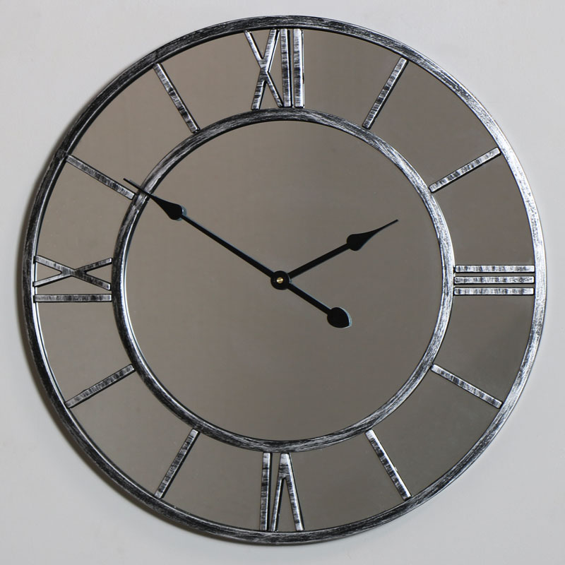 Large Mirrored Skeleton Style Wall Clock With Roman