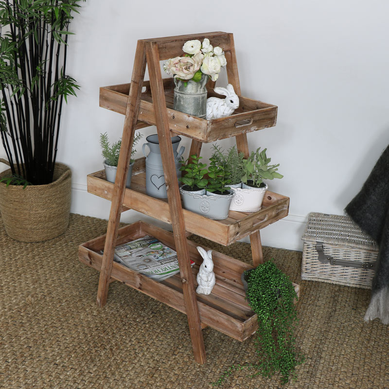 Rustic Wooden 3 Tier Display Stand