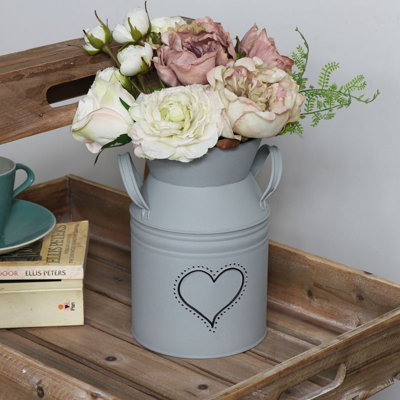 Decorative Grey Metal Churn Style Vase