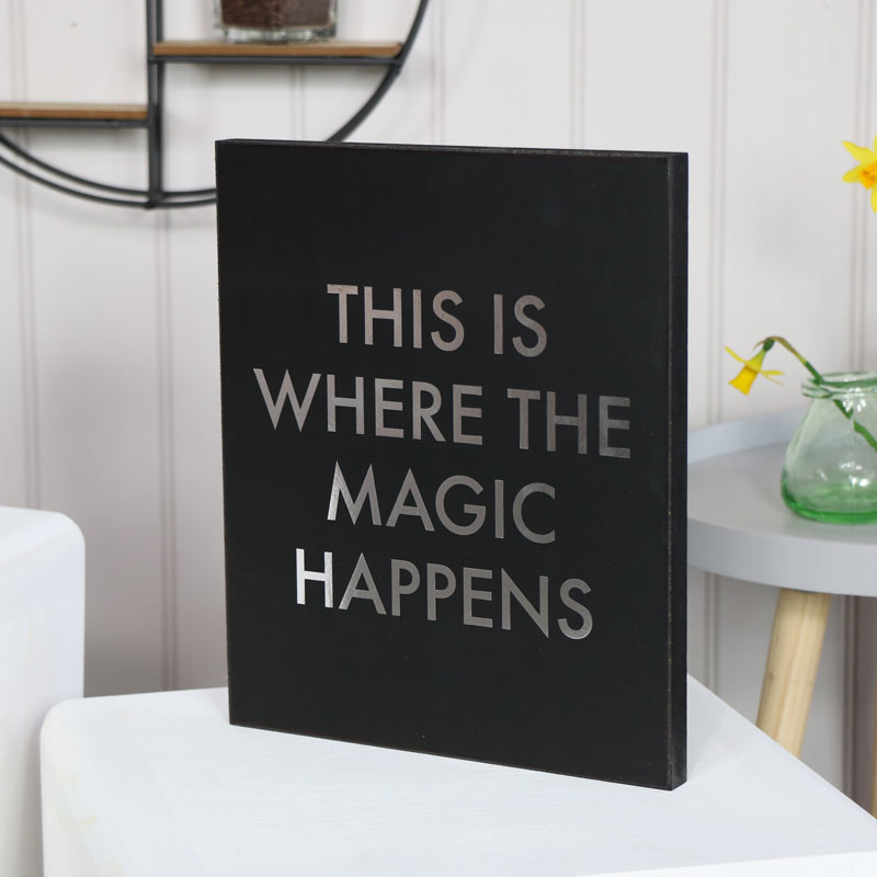 """Black Wall Plaque """"This is Where the Magic Happens"""""""