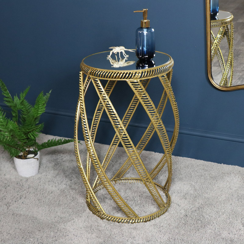 Ornate Gold Mirrored Table