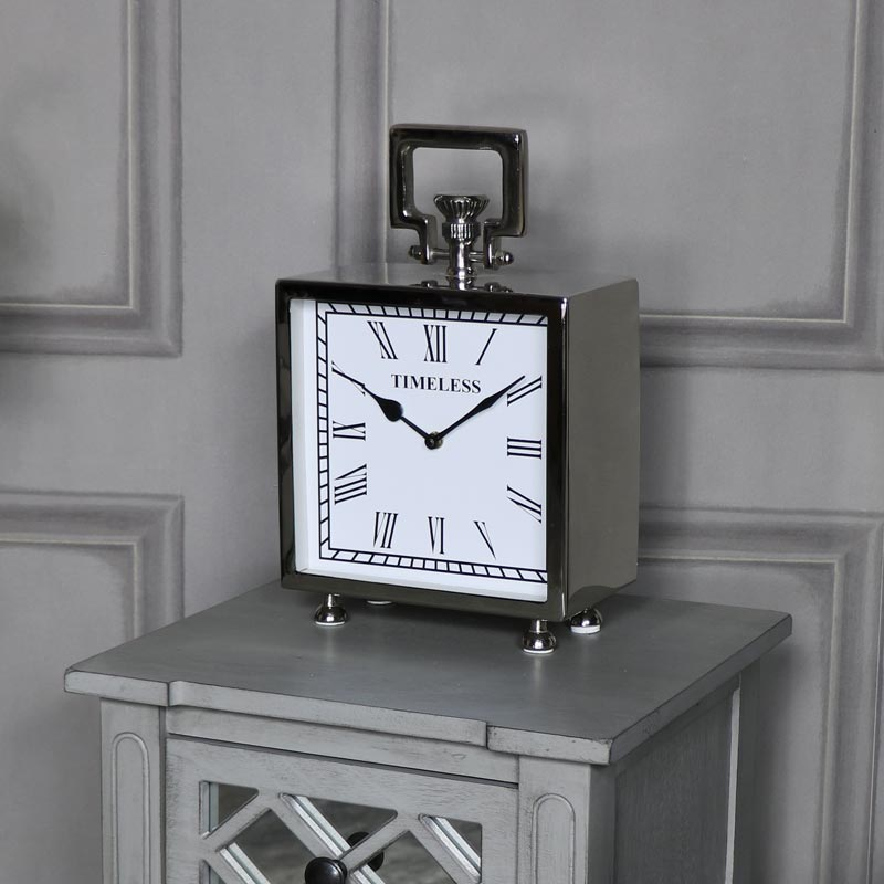 Polished Silver Nickel Mantel Clock Windsor Browne