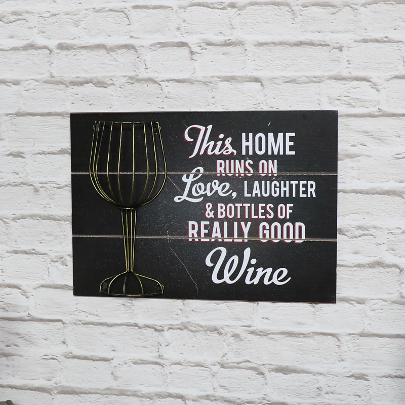 Humorous Wine Quote Black Wall Plaque Cork Holder