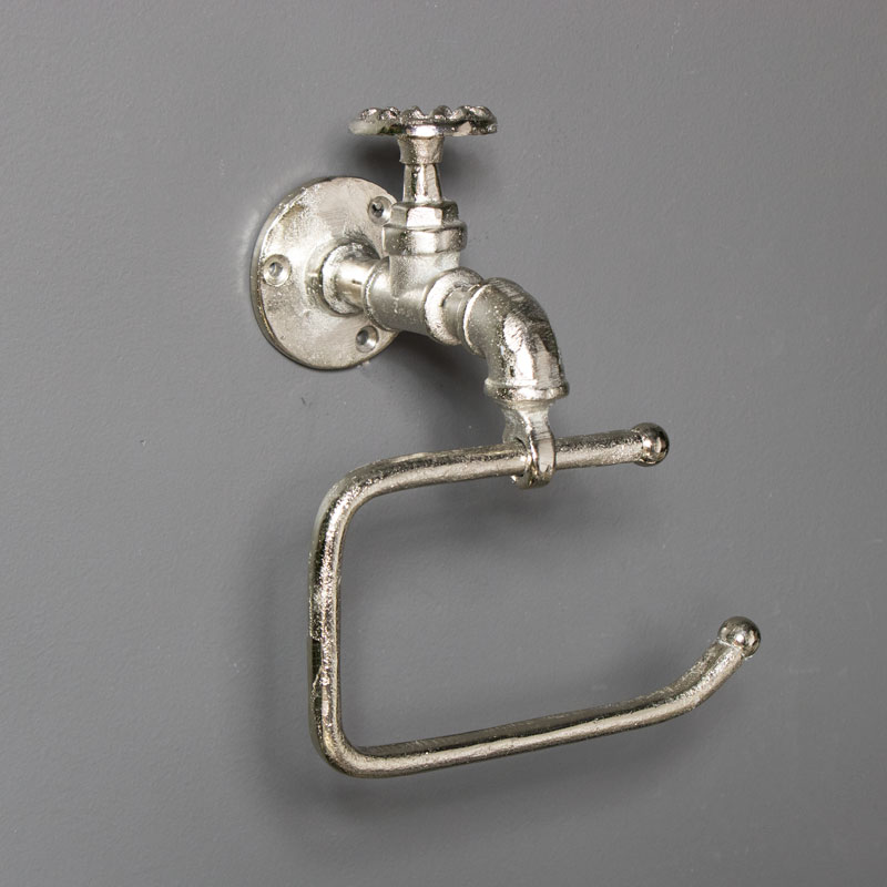 Silver Metal Tap Toilet Roll Holder