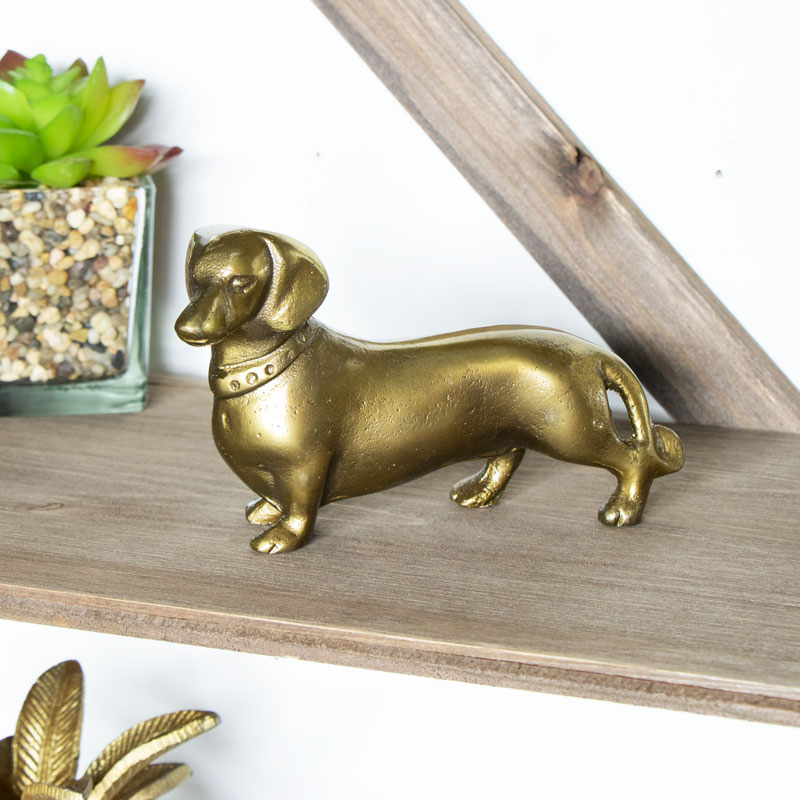 Metal Brass Dachshund Dog Decorative Ornament Gift