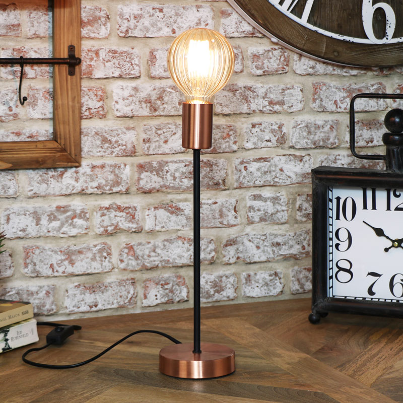 Gold Lamp with Smoked Grey Glass Bulb