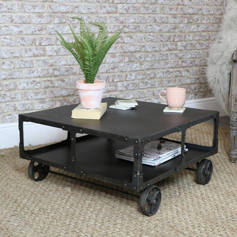 Industrial Metal Coffee Table On Wheels