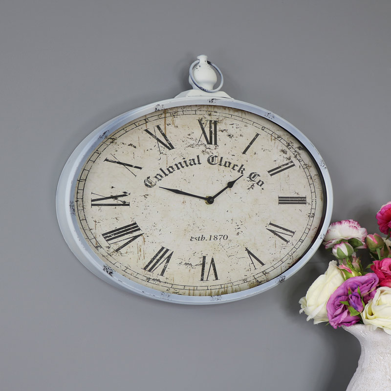 Vintage Oval Pocket Watch Style Wall Clock Windsor Browne