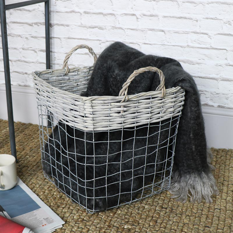 Large Wicker & Metal Storage Basket