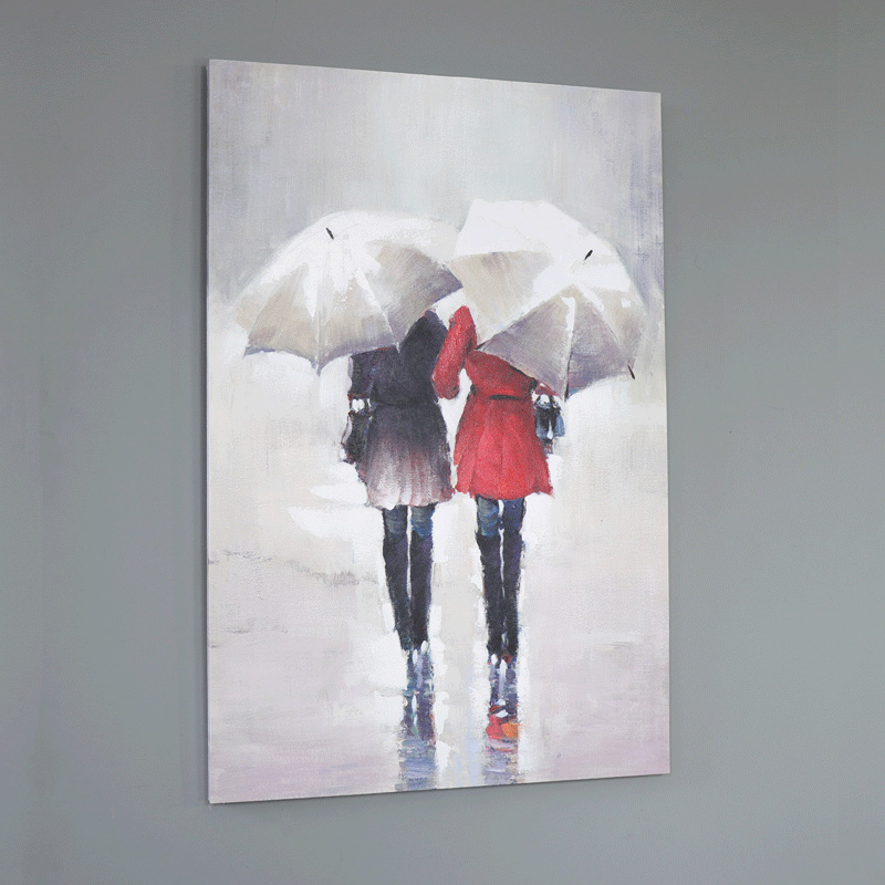Large Walking in the Rain Wall Mounted Canvas Print