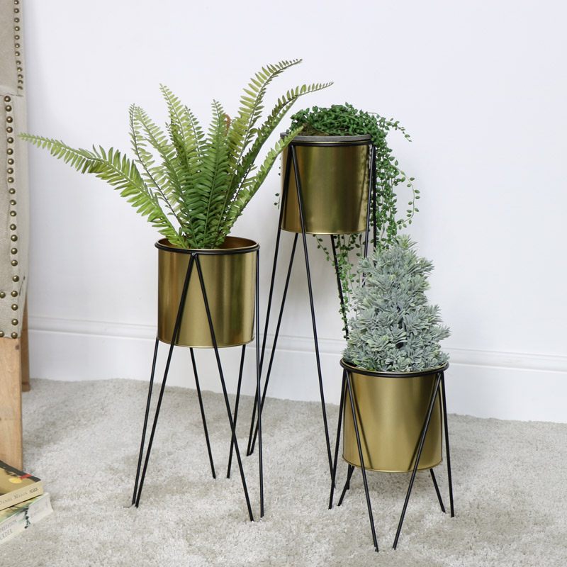Set of 3 Gold Plant Stands