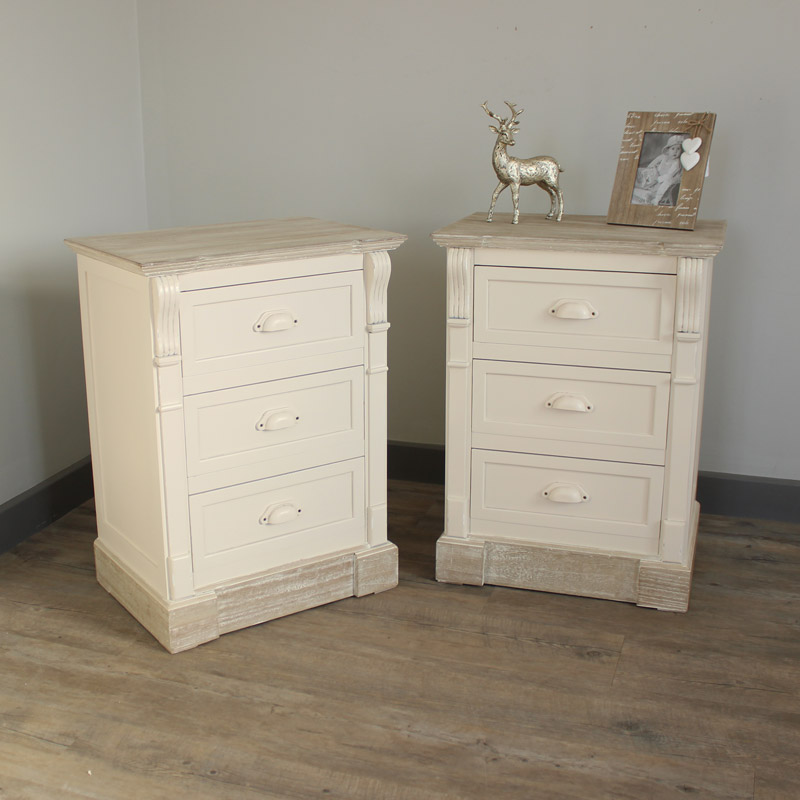 Bedroom Set, Pair of Cream Three Drawer Bedside Table - Lyon Range