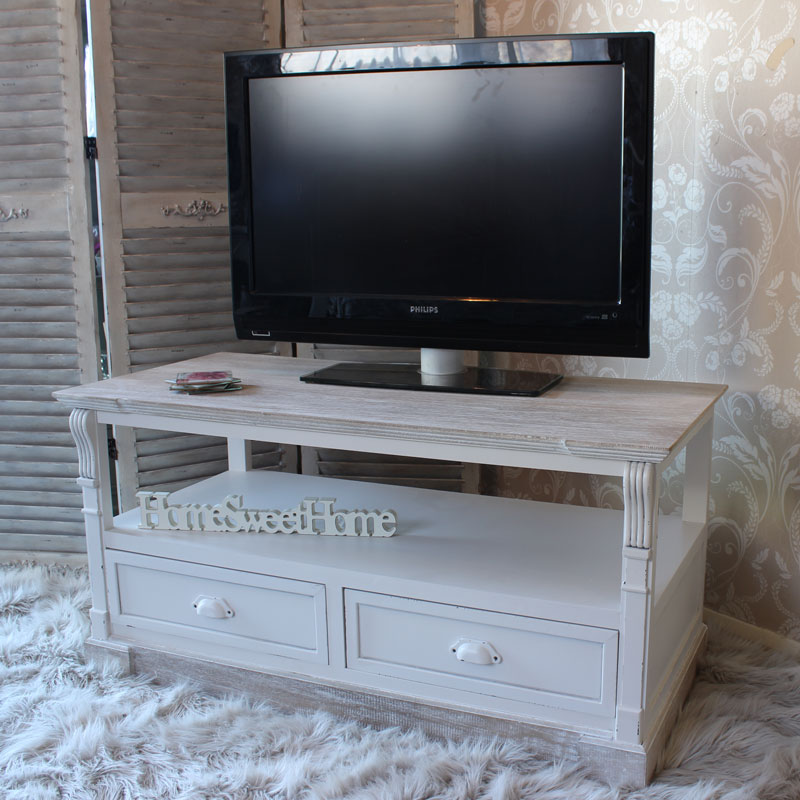 Cream Media TV Unit with Drawer Storage - Lyon Range