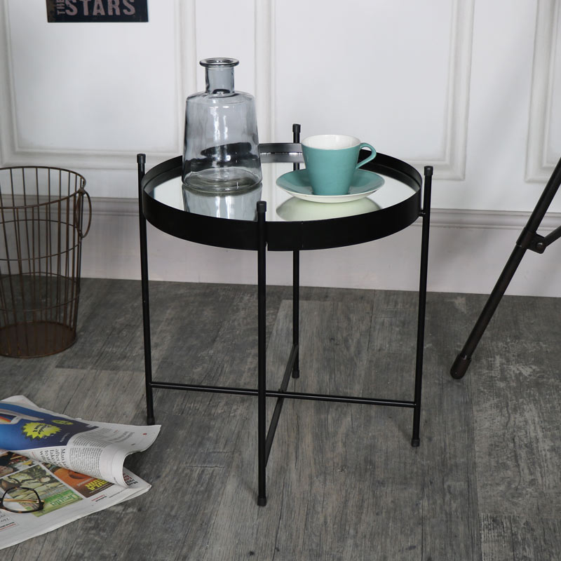 Black Mirrored Display Tray Table
