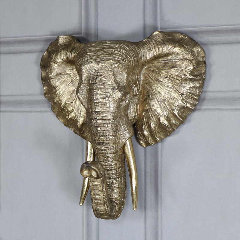 Large Wall Mounted Antique Gold Elephant Head