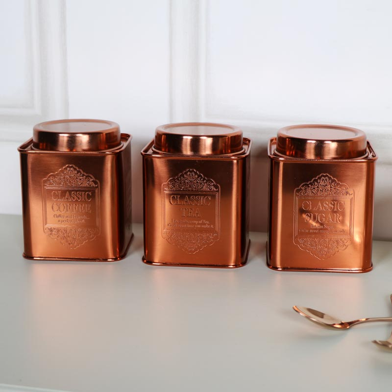 Set of Small Vintage Copper Tea, coffee, Sugar Storage Cannisters