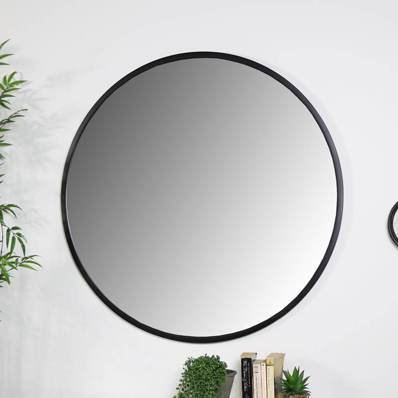 Large Round Black Mirror 100cm x 100cm