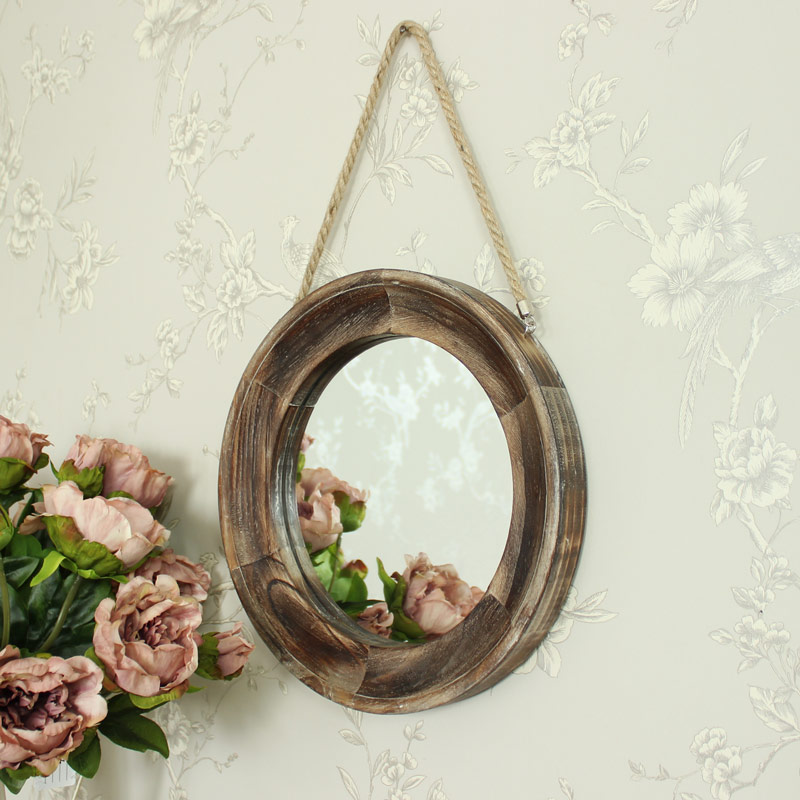 Round Wooden Wall Mirror 32cm x 32cm