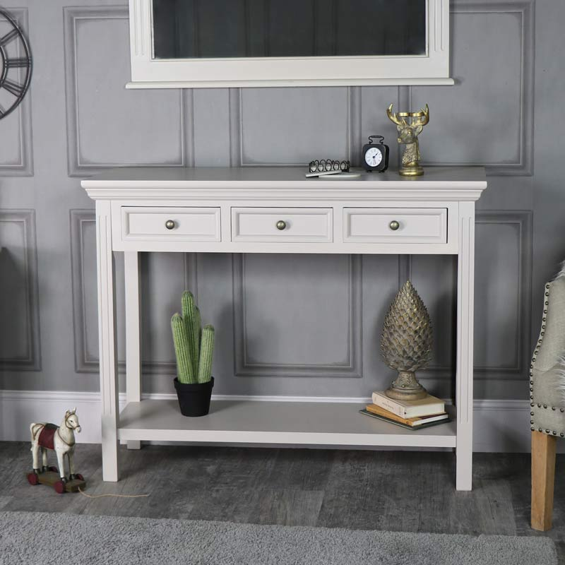 Large Three Drawer Sideboard/Console Table with Shelf – Daventry Taupe-Grey Range