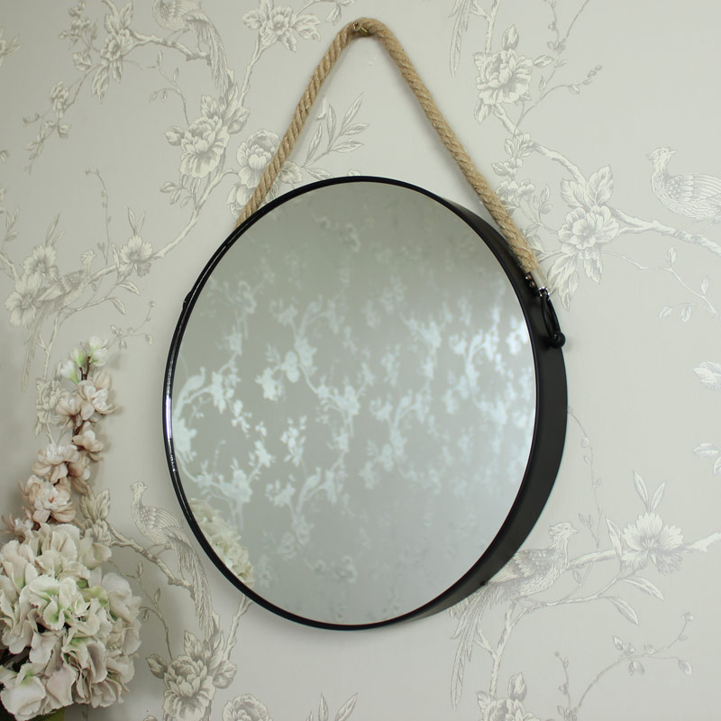 Round Black Metal Wall Mirror 39cm x 39cm