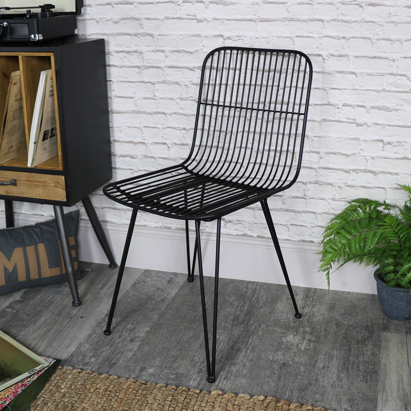 Black Metal Wire Midas Chair
