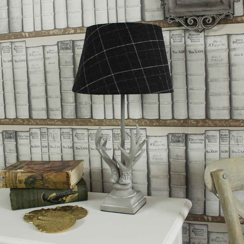 Stag Antler Table Lamp with Tartan Shade