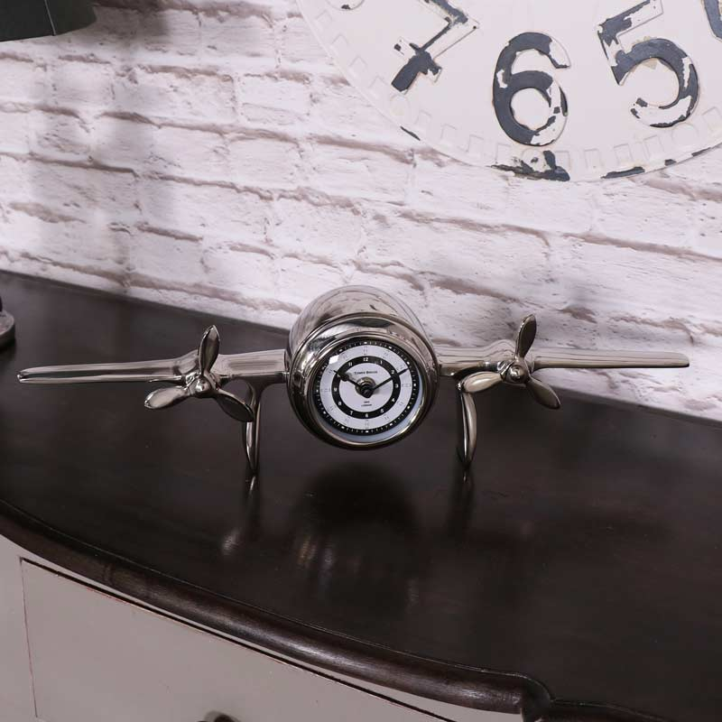 Silver Metal Aeroplane Desk Clock