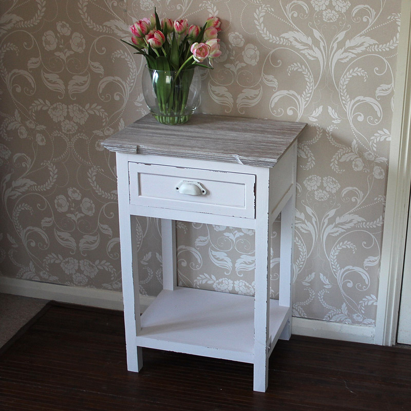 Lyon Range - Cream one Drawer Bedside Table with Shelf