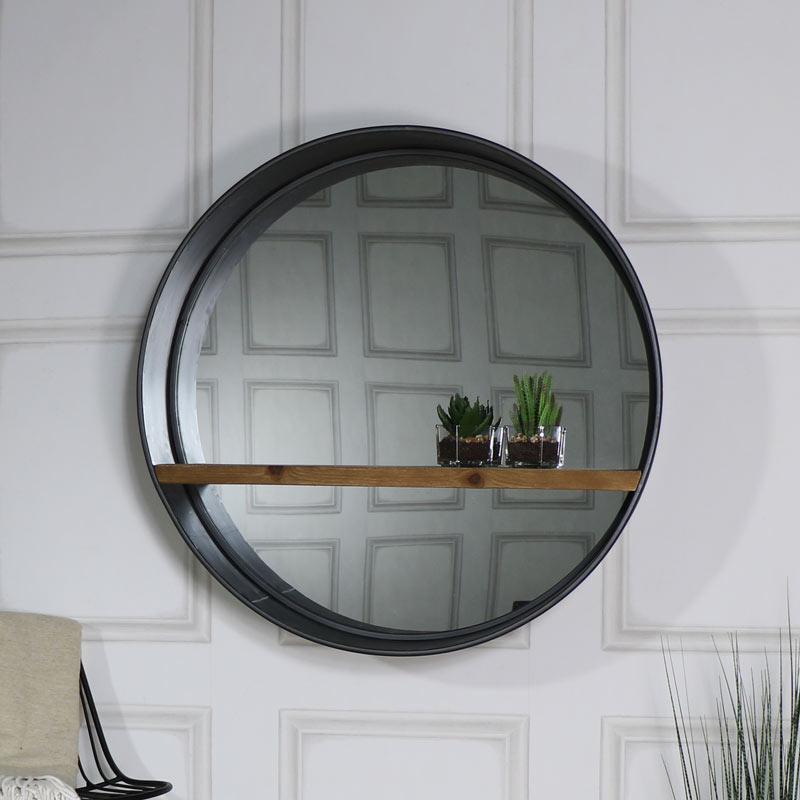 Large Round Mirror with Shelf - Retro Range 80cm x 80cm