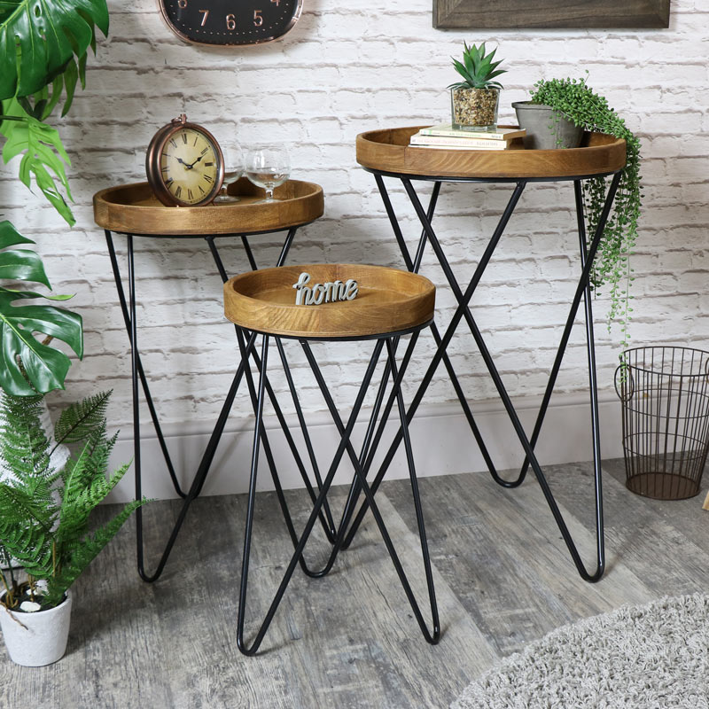 Set of 3 Wooden Side / Plant Tables