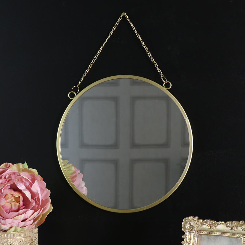 Vintage Gold Circle Wall Mirror