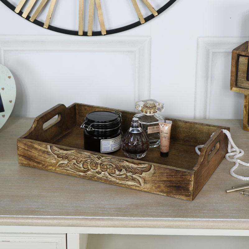 Small Rustic Carved Mango Wood Serving Tray