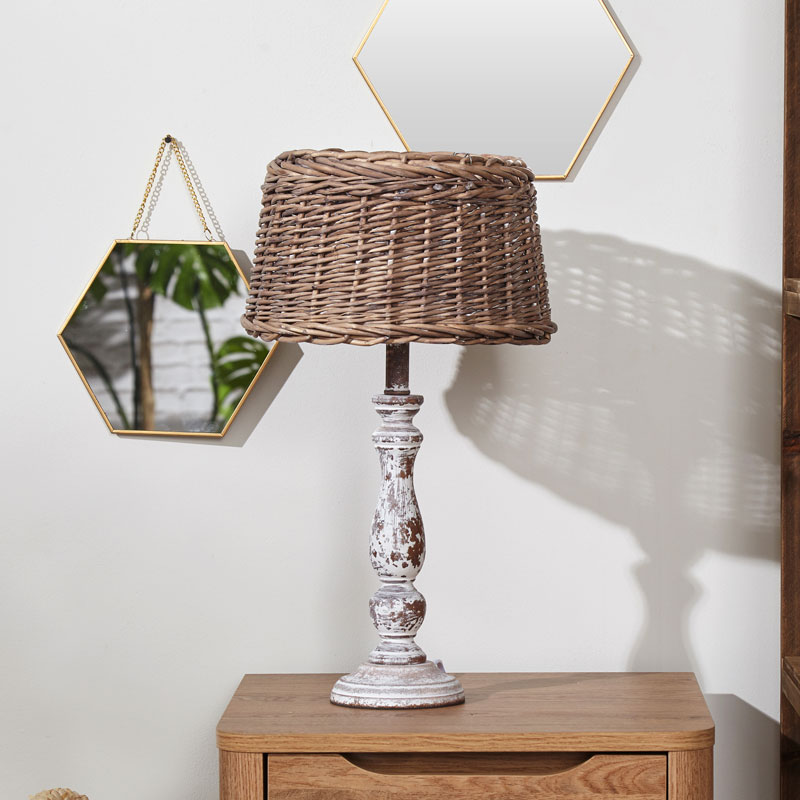 White Distressed Table Lamp with Wicker shade