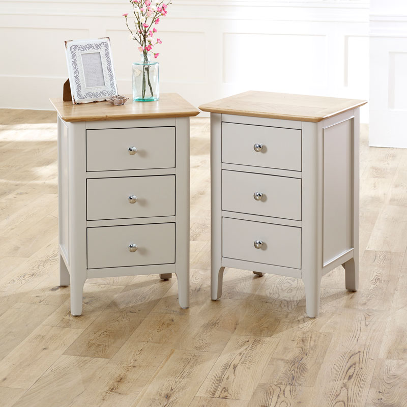 Pair of Grey Bedside Tables - Devon Range