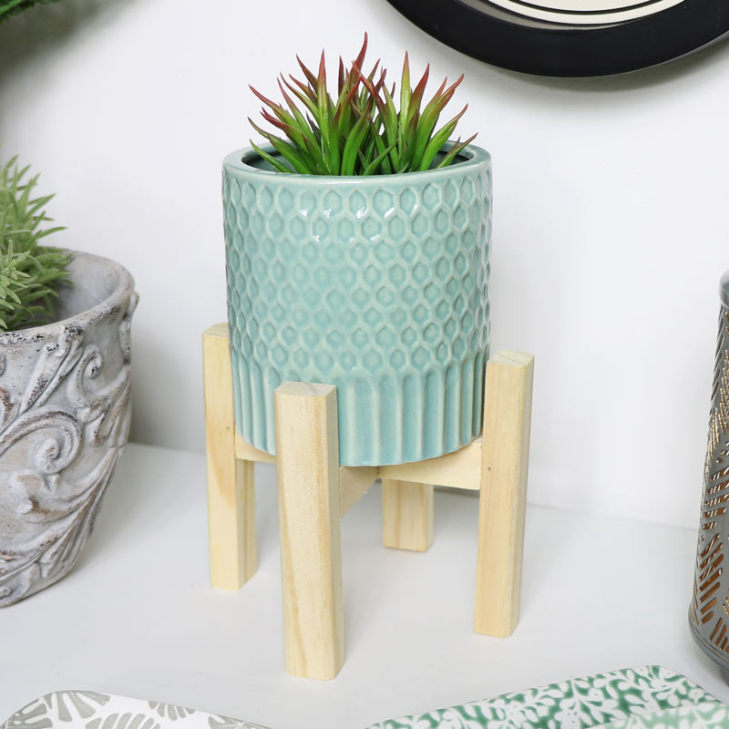 Green Planter with Wooden Stand