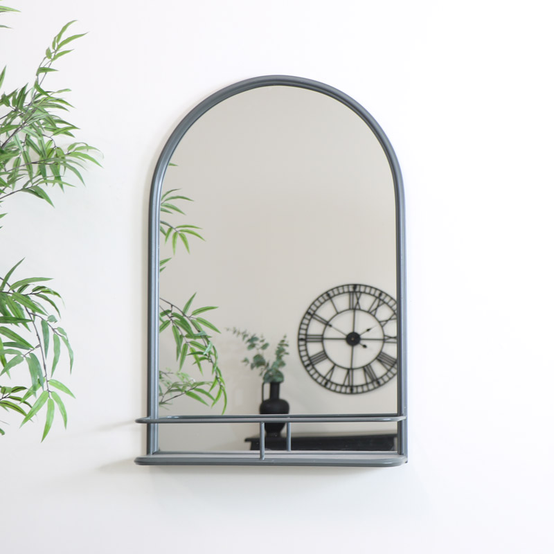 Large Grey Arched Mirror with Shelf