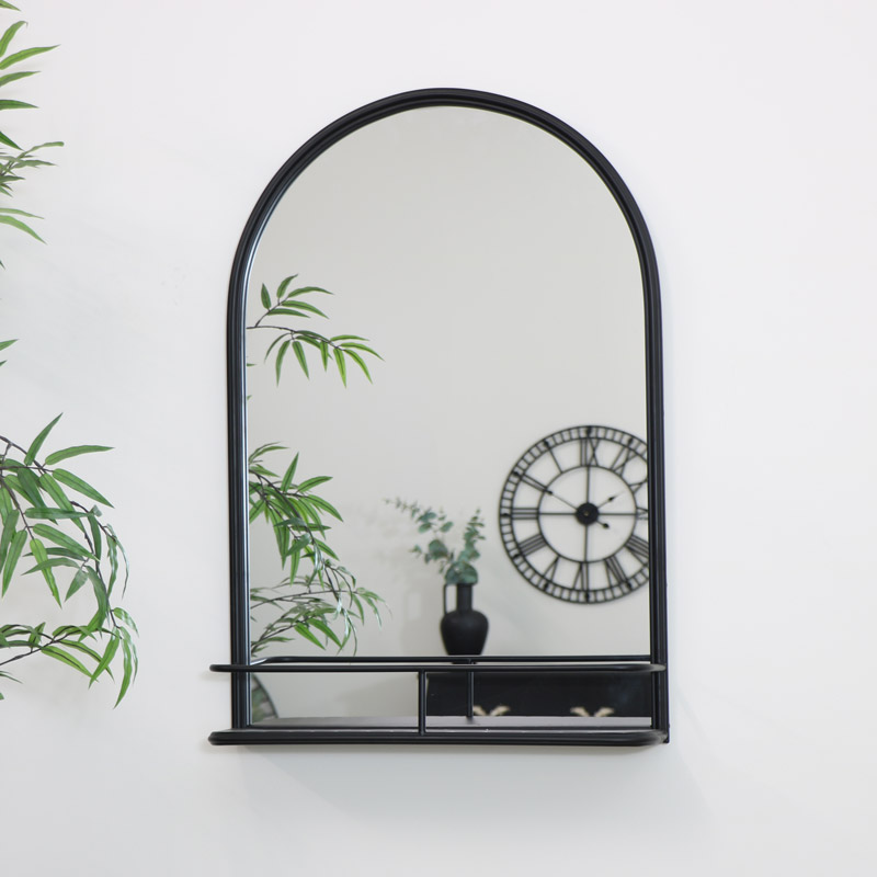 Large Black Arched Mirror with Shelf