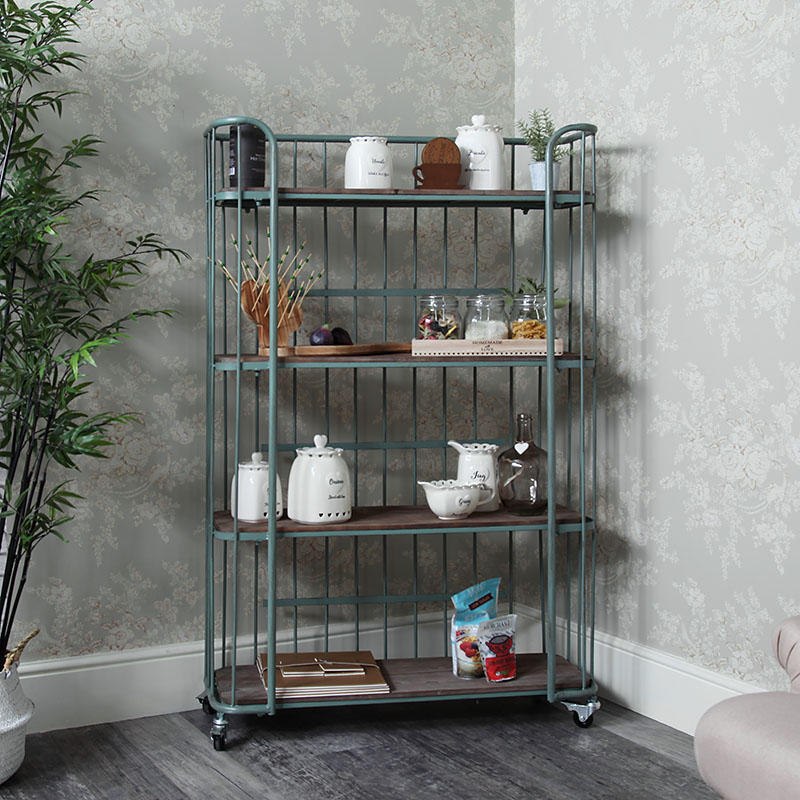 Tall Rustic Industrial Trolley with Shelves