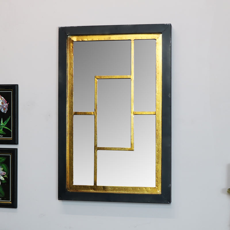 Black & Gold Geometric Wall Mirror 45cm x 70cm