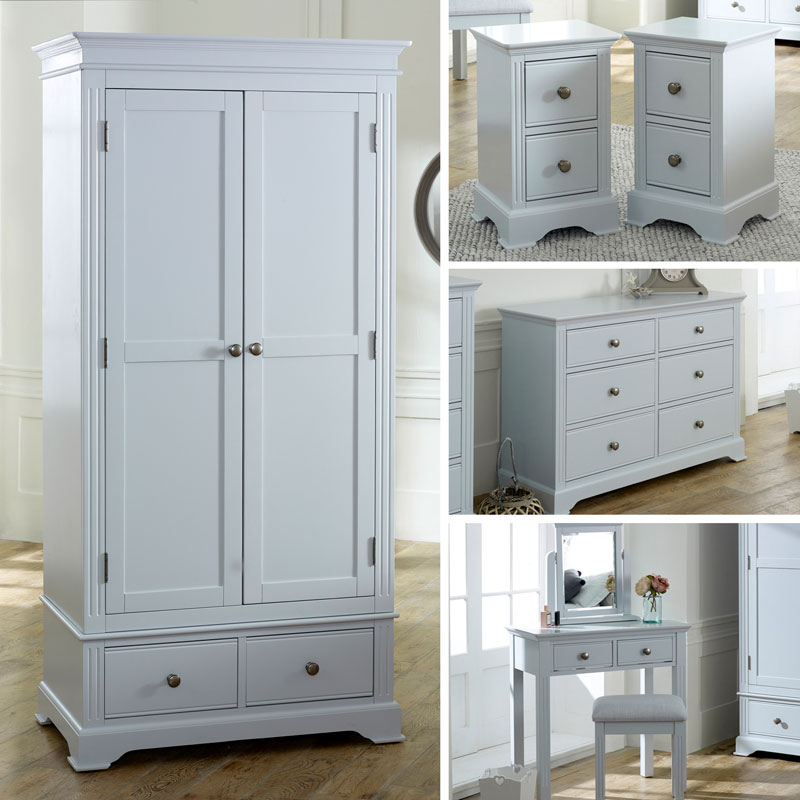 Grey Bedroom Furniture, Wardrobe, Large Chest of Drawers, Dressing Table Set & Bedside Tables - Davenport Grey Range