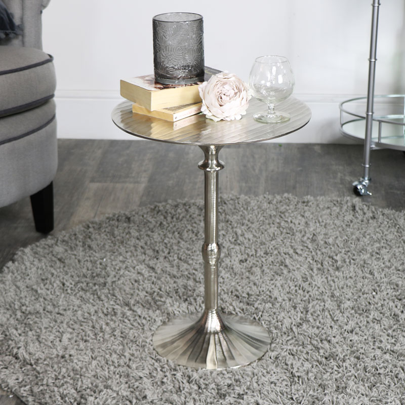 Round Silver Side Table