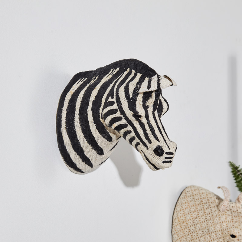 Wall Mounted Cotton Zebra Head