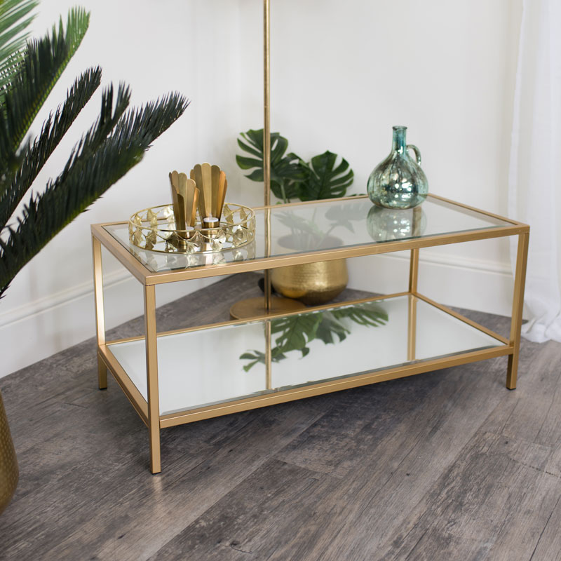 Gold Glass/Mirrored Coffee Table