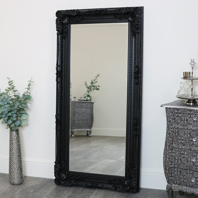 Large Ornate Black Wall / Leaner Mirror 158cm x 78cm